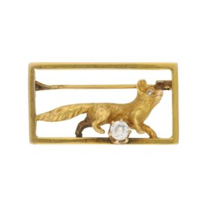 Victorian Diamond Fox Frame Brooch in Yellow Gold, c. 1870