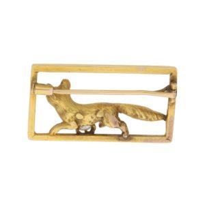 Victorian Diamond Fox Frame Brooch in Yellow Gold, c. 1870