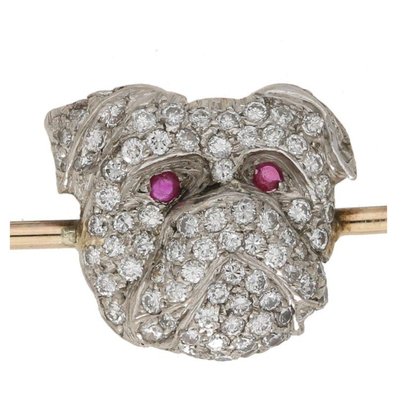 Gold diamond British Bulldog bar pin