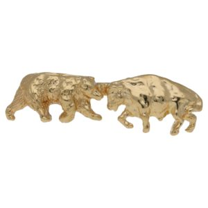 14ct gold bull bear tie pin