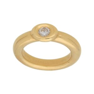 Chaumet yellow gold and diamond rubover ring
