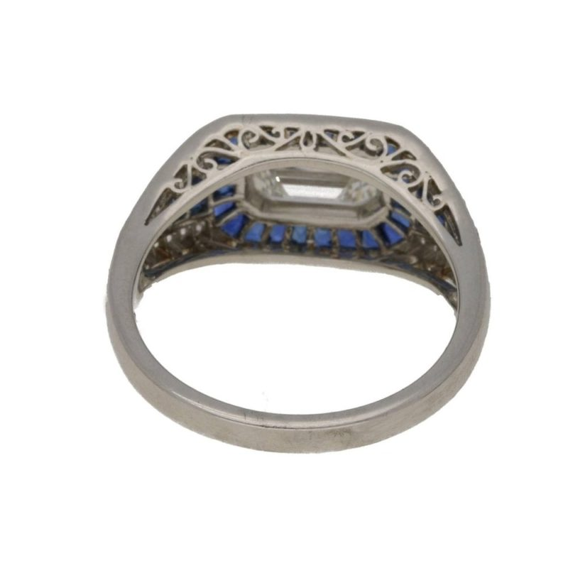 Art Deco style sapphire and diamond ring set in platinum