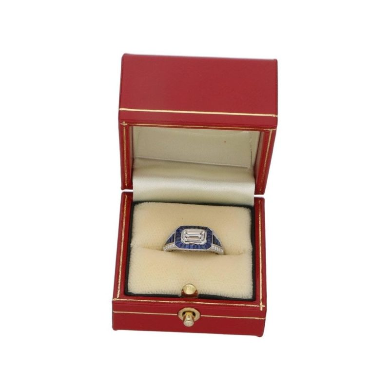 Art Deco style sapphire and diamond ring set in platinum
