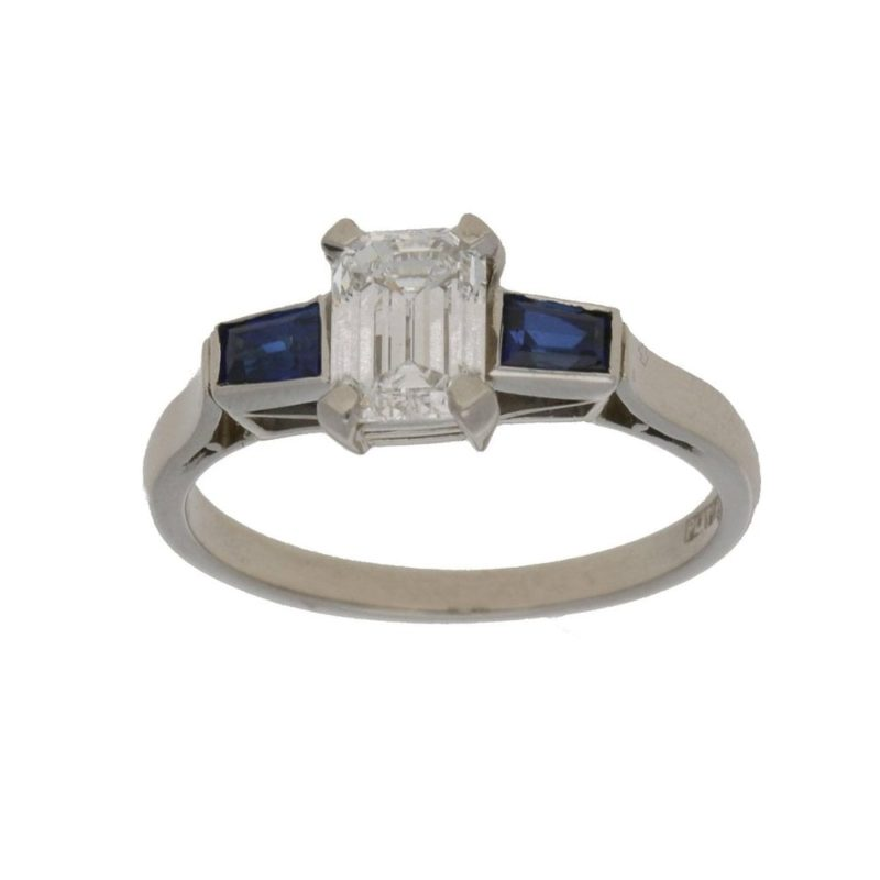 Emerald cut diamond sapphire engagement ring