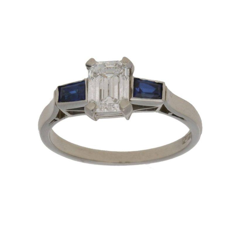 Emerald cut diamond sapphire engagement ring