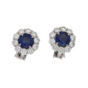 Platinum sapphire diamond cluster stud earrings