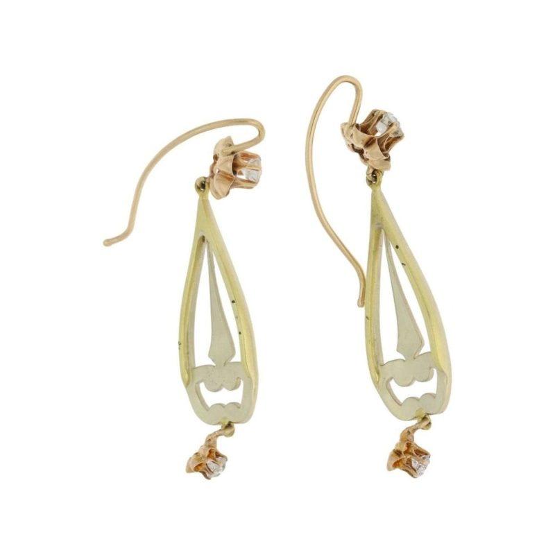 Enamel diamond antique drop earrings