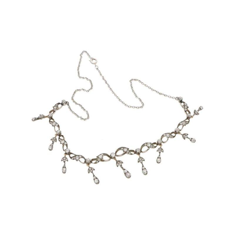 Antique Victorian Old Mine Cut Diamond Drop Necklace