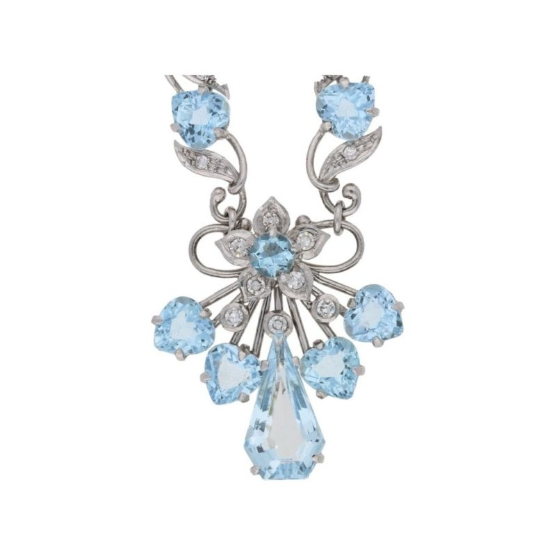18ct white gold aquamarine and diamond set necklace