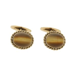 14ct gold rope work cabochon tiger's eye cufflinks