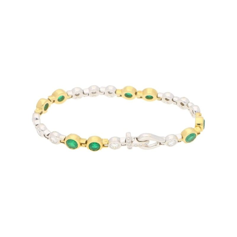 18ct gold emerald diamond bracelet