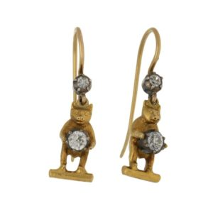 Late Victorian Bear Diamond Drop Earrings Silver and Yellow Gold