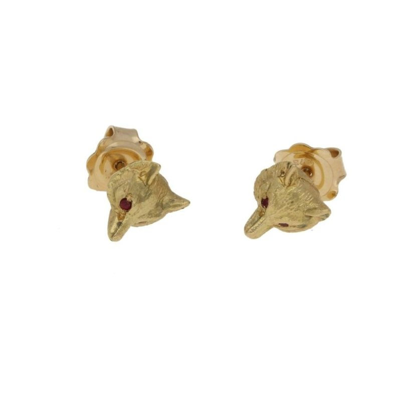 A Pair of 9kt Yellow Gold Fox Head Stud Earrings with Ruby Eyes
