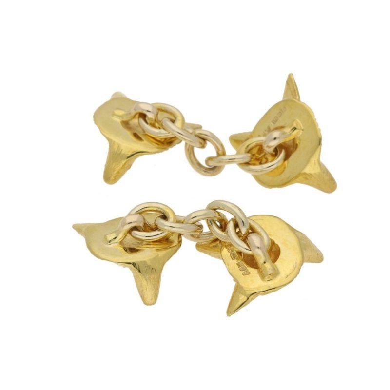 9k gold fox head cufflinks