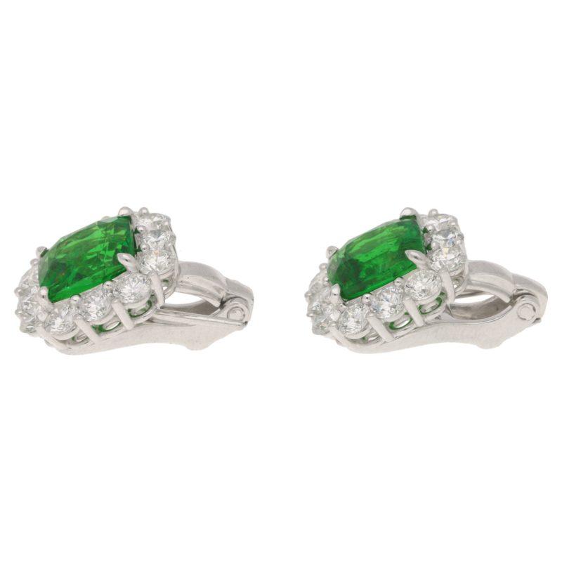 Tsavorite garnet diamond cluster earrings in platinum