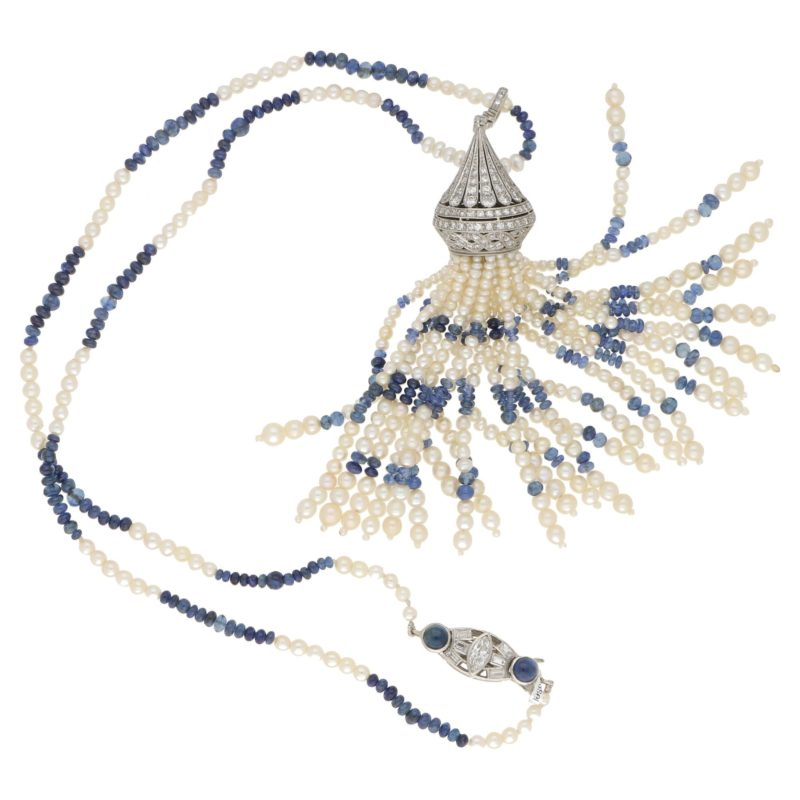 Art Deco Pearl, Sapphire and Diamond Tassel Necklace in Platinum