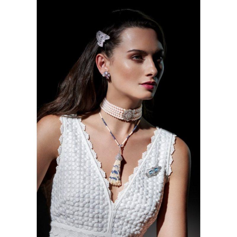 Art Deco Pearl, Sapphire and Diamond Tassel Necklace in Platinum