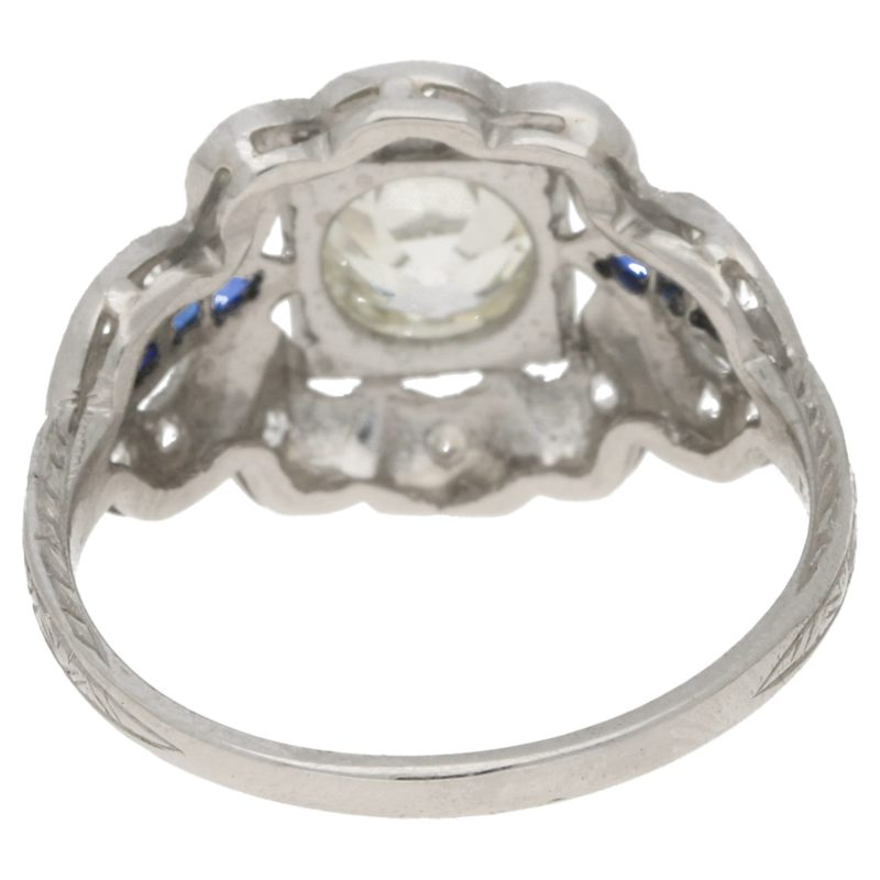 Edwardian Old European Cut Diamond and Sapphire Ring