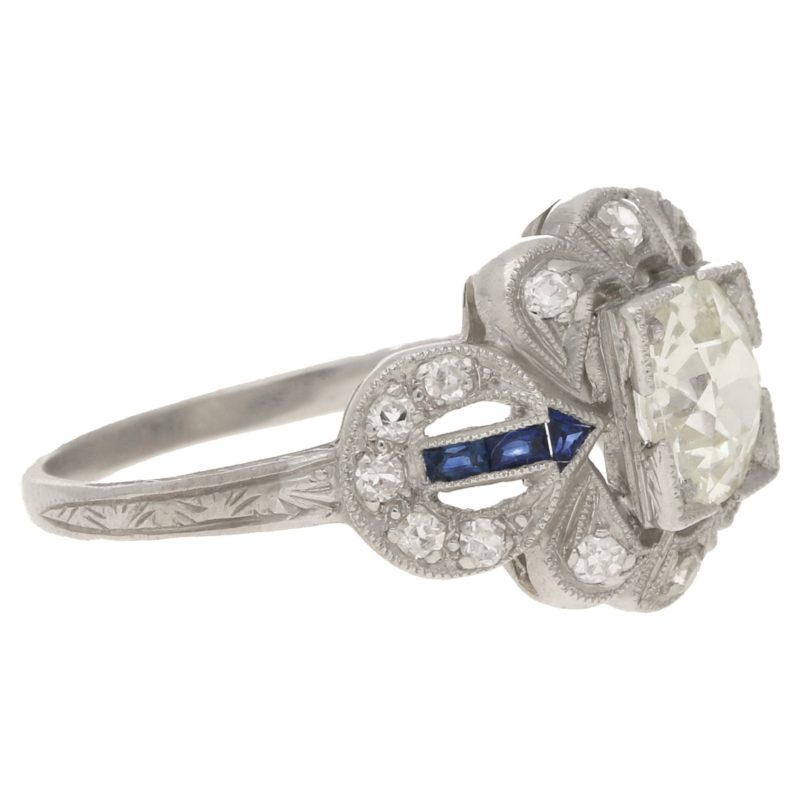 Edwardian style diamond sapphire engagement ring