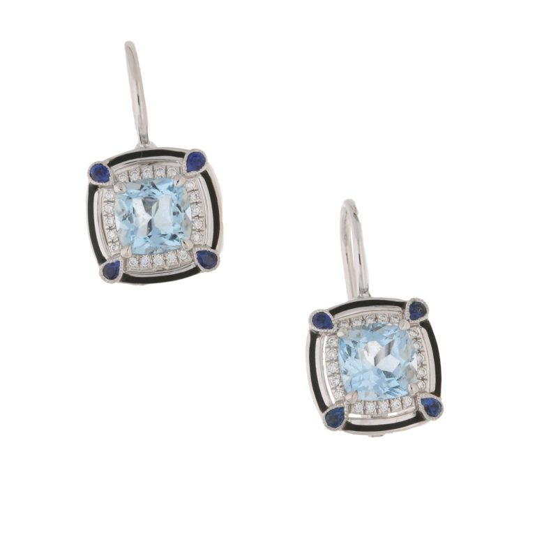 18ct gold aquamarine sapphire diamond earrings