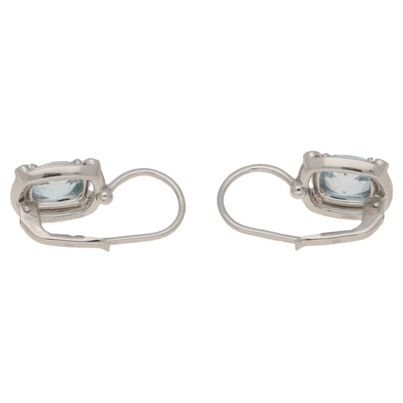 18ct gold aquamarine sapphire diamond earrings