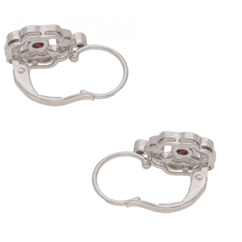 18ct white gold diamond ruby clover drop earrings