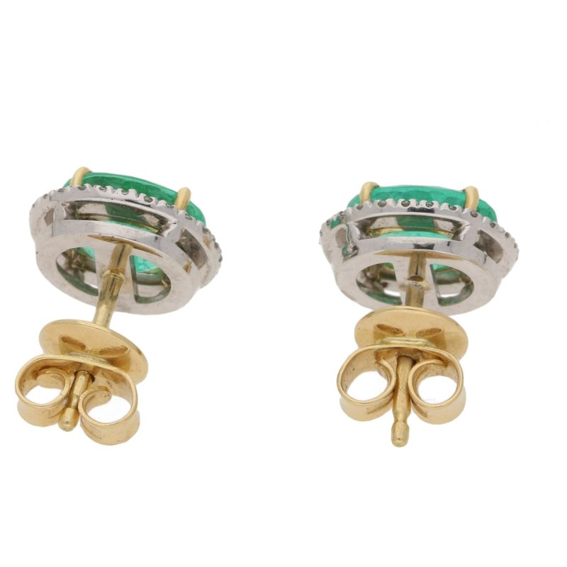Colombian emerald and diamond stud earrings