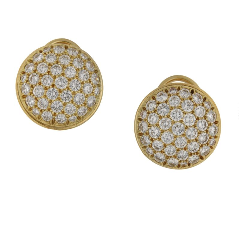 18ct gold diamond signed Fred earrings