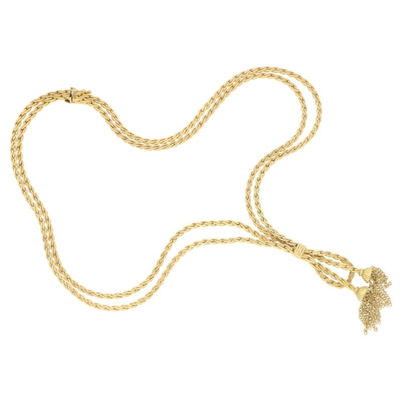 18ct yellow gold vintage tassel necklace