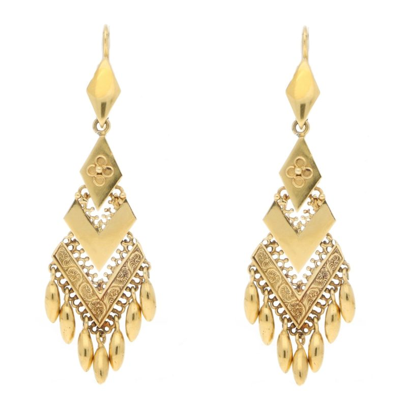 Victorian etruscan 18k gold long drop earrings