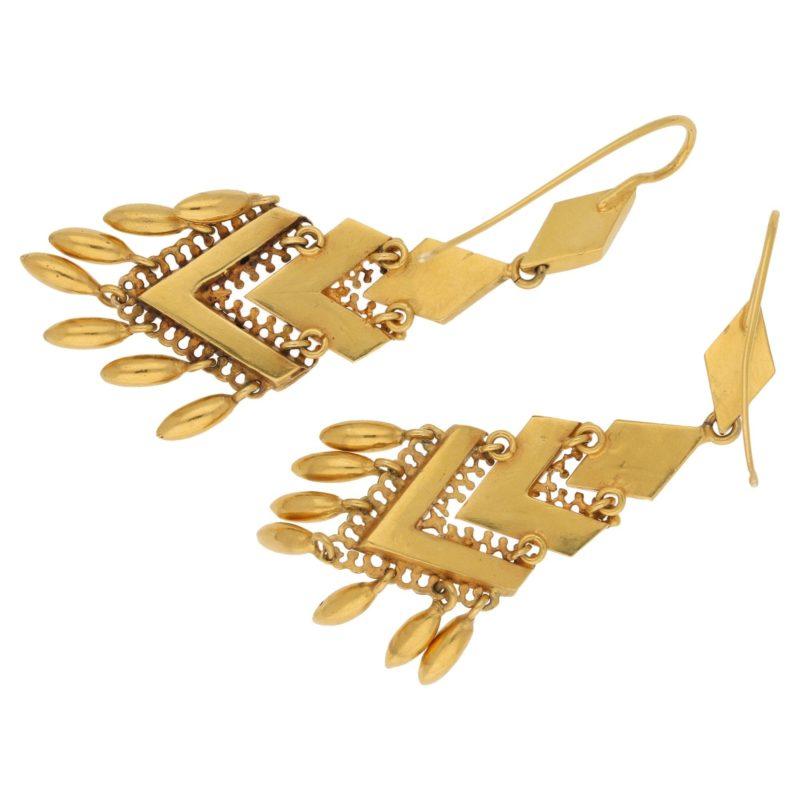 Victorian etruscan 18k gold long drop earrings