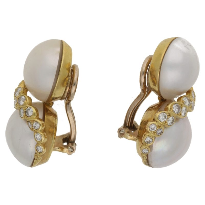 18ct mabé pearl diamond clip on earrings