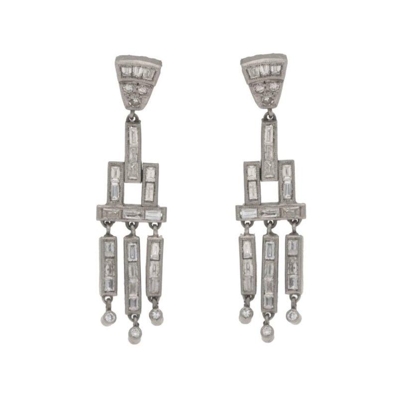 Art Deco diamond baguette drop earrings