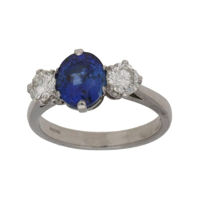 Sapphire diamond three stone ring