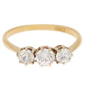 18ct yellow gold diamond three stone engagement ring