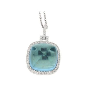 18ct gold blue topaz pendant on chain
