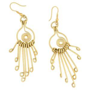 18ct gold long dangly drop earrings