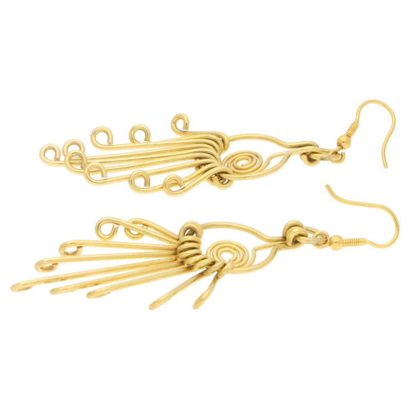 18ct gold long dangly drop earrings