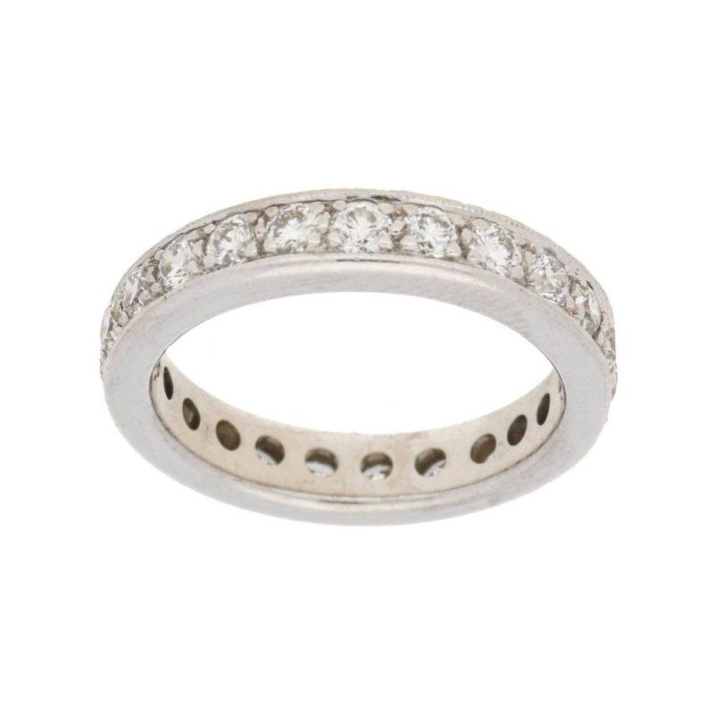 Full eternity diamond ring in white gold