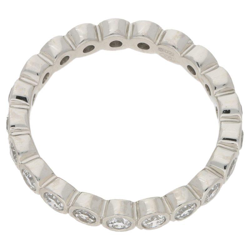 Platinum rubover set round diamond full eternity ring