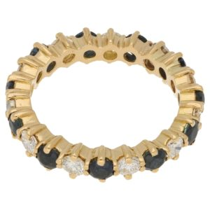 18ct gold sapphire diamond eternity ring