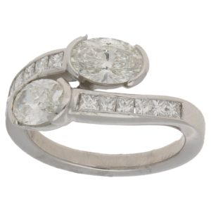 18ct gold diamond crossover ring