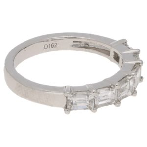 Six-stone baguette-cut diamond ring in platinum
