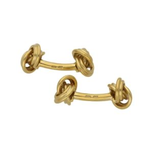 18k yellow gold solid bar knot cufflinks