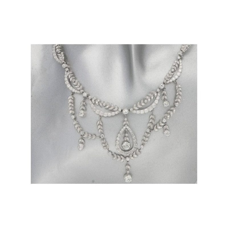 Edwardian diamond set filigree platinum necklace