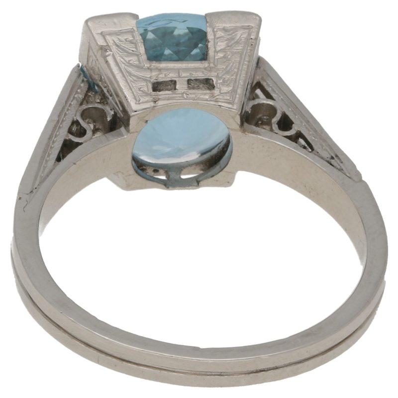 3.64ct aquamarine and diamond ring
