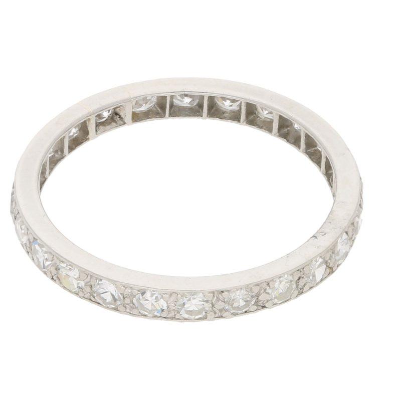 Vintage single-cut diamond full eternity ring in white gold