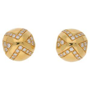 Bvlgari Diamond Ball Ear Clips, Italian