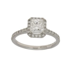 Princess-cut diamond halo ring in platinum