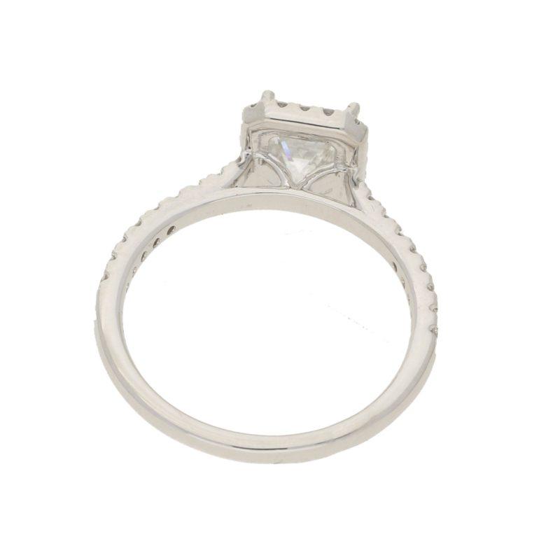 Princess-cut diamond halo ring in platinum